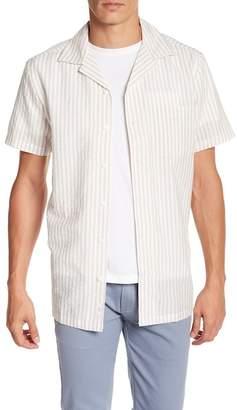 Onia Short Sleeve Stripe Woven Regular Fit Shirt