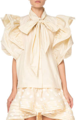 Marc Jacobs Short-Sleeve Ruffled Taffeta Blouse