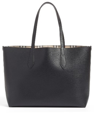 Burberry Medium Lavenby Reversible Calfskin Leather Tote - Black $995 thestylecure.com