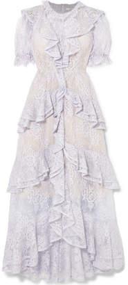 Erdem Garcelle Ruffled Cotton-blend Lace Gown - Lilac