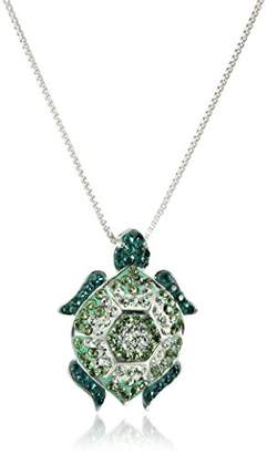 Swarovski Sterling Silver Turtle with Elements Pendant Necklace