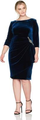 Alex Evenings Women's Plus-Size Velvet Dress with Embellishment at The Hip