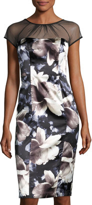 Maggy London Illusion-Yoke Floral-Print Dress, Black/Ivory $129 thestylecure.com
