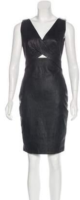 Robert Rodriguez Leather Sheath Dress