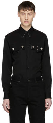 Calvin Klein Black Wool Flap Pocket Shirt