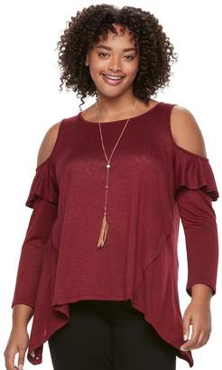 Heartsoul Juniors' Plus Size HeartSoul Ruffle Cold-Shoulder Top