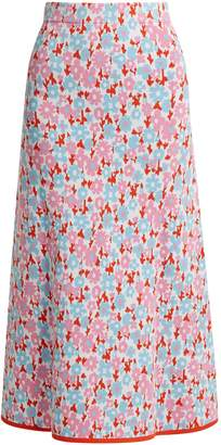 JOOSTRICOT Floral intarsia stretch-jersey skirt