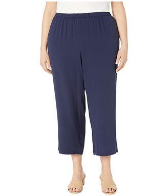 Eileen Fisher Plus Size Silk Georgette Crepe Straight Cropped Pants