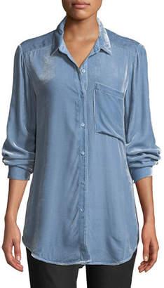 Eileen Fisher Velvet Long-Sleeve Pocket Shirt