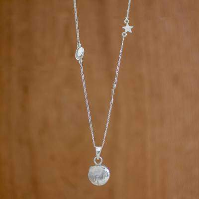 Earth's Rotations Sterling Silver Cosmos Pendant Necklace from Guatemala