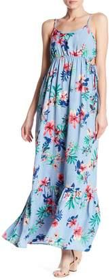 Vanity Room Floral Print Side Tie Maxi Dress