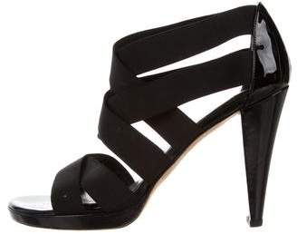 Stuart Weitzman Leather Round-Toe Sandals