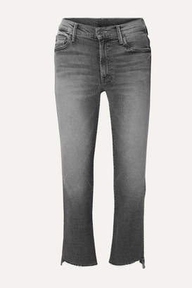 Mother The Insider Frayed Cropped High-rise Flared Jeans - Gray