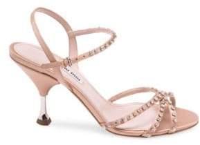 Miu Miu Stiletto Heel Jeweled Leather Sandals
