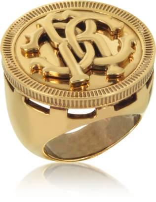 Roberto Cavalli Antique Goldtone Metal Large Logo Coin Ring