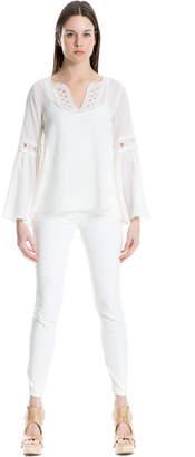 Max Studio flared sleeve cotton crepon top