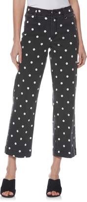 Paige Nellie Polka Dot Clean Front Culotte Jeans