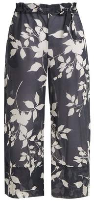 Lila Eugénie - 1835 Wide Leg Cropped Cotton Trousers - Womens - Navy Print