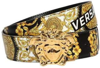 Versace Logo Baroque Print Leather Belt