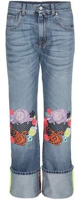 Christopher Kane Wide-leg jeans with floral appliqué