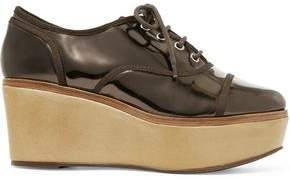 Schutz Mirrored-Leather Wedge Brogues