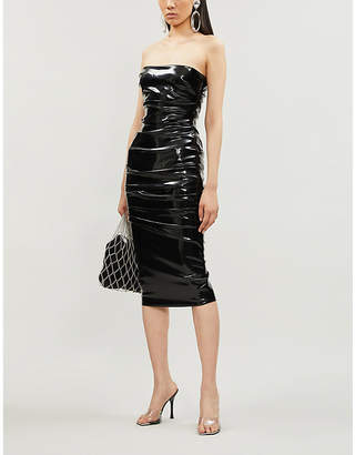 Alex Perry Decon ruched faux-leather knee-length dress