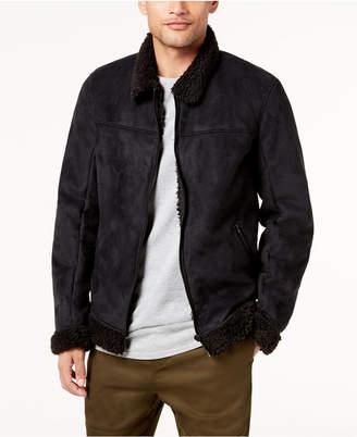 Jaywalker Men's Faux-Suede Fleece-Lined Aviator Jacket