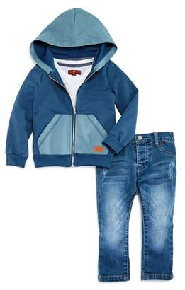 7 For All Mankind Boys' Color-Blocked Hoodie, Tee & Jeans Set - Baby