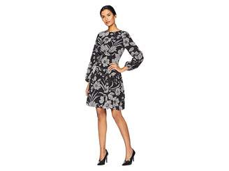London Times Puff Sleeve Fit Flare Dress