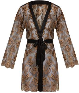 COCO DE MER Ametrine silk-blend Chantilly-lace robe
