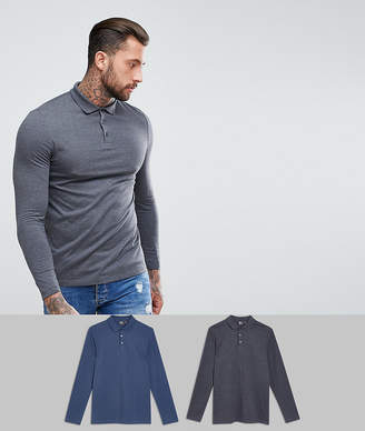 Asos DESIGN jersey long sleeve polo 2 pack SAVE