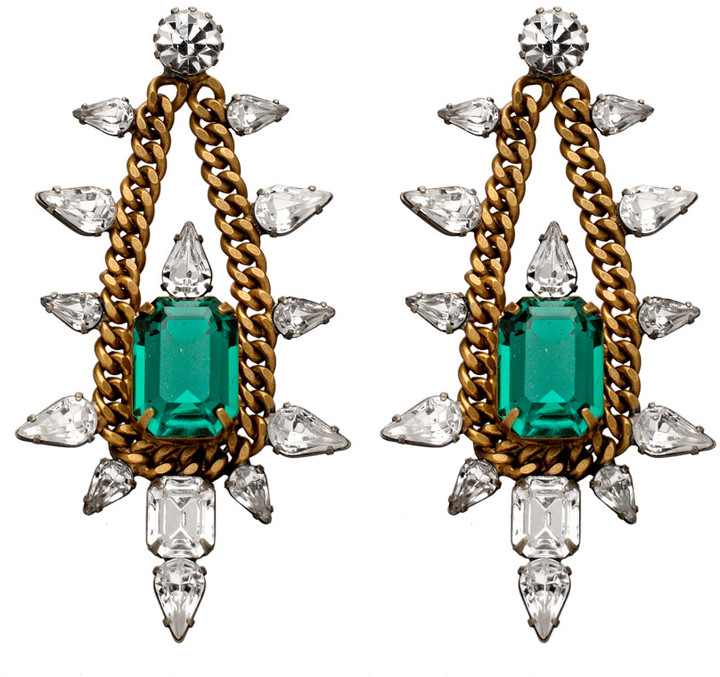 Elizabeth Cole Jewelry Chain and Crystal Chandelier Earrings