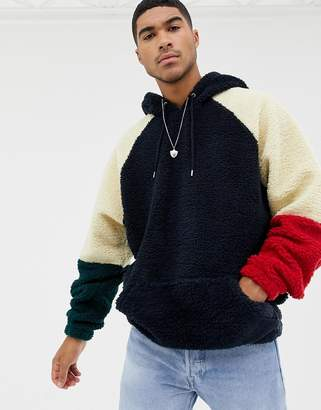 Asos DESIGN oversized hoodie with color blocking in borg