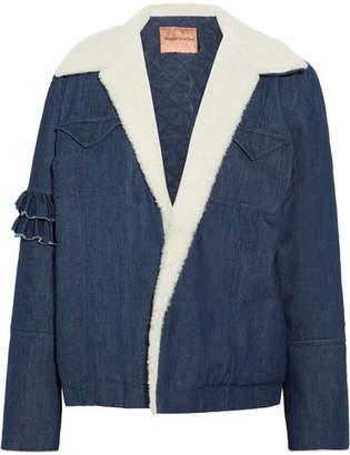 Maggie Marilyn - Made For Greatness Shearling-trimmed Denim Jacket - Dark denim