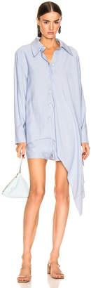 Tibi Asymmetrical Shirt in Chambray Blue | FWRD