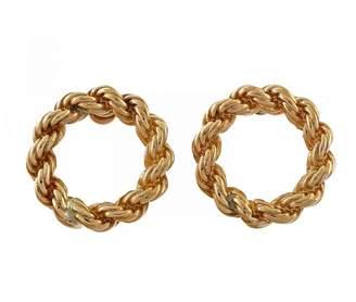 14K Yellow Gold Rope Chain Open Circle Pierced Earrings