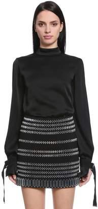 David Koma Satin Blouse W/ Cutout Sleeves