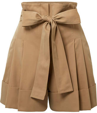 Alexander McQueen Belted Pleated Cotton-gabardine Shorts - Sand