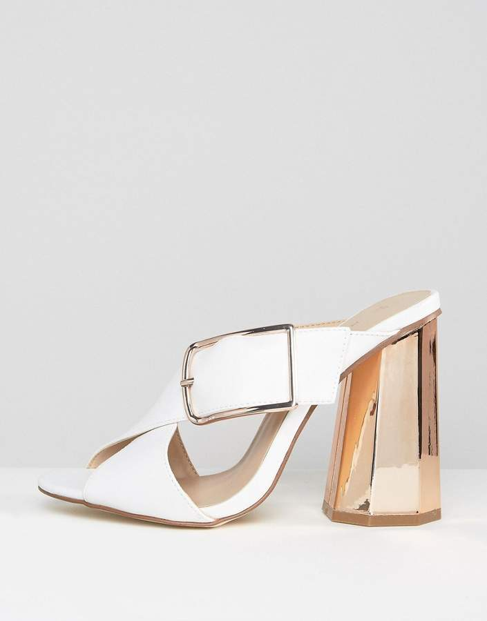New Look White Cross Front Heeled Mule