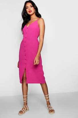 boohoo Button Front woven Shift Midi Dress