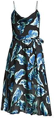 Alice + Olivia Women's Heather Cowl-Neck Floral Midi Dress
