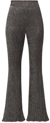 Peter Pilotto Plisse Metallic Jersey Trousers - Womens - Black