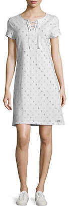 Tommy Hilfiger Lana Anchor Lace-Up Short-Sleeve Shift Dress