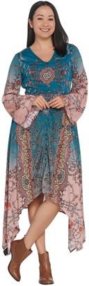 Tolani Collection Asymmetric Hem Button Front Printed Dress