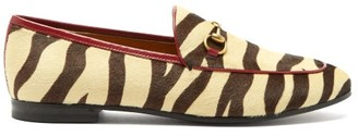 Gucci Jordaan Tiger Print Leather Loafers - Womens - Black Beige