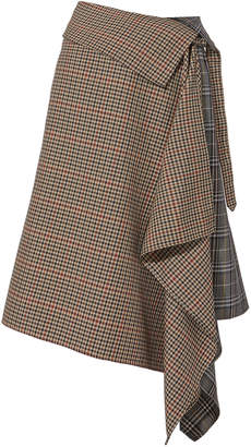 Monse Blanket Wrap Plaid Midi Skirt