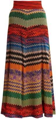 Missoni Zigzag-striped knit midi skirt