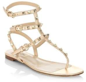 Valentino Rockstud Leather Thong Sandals
