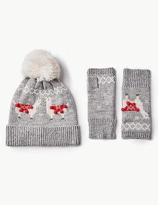 Marks and Spencer Llama Hat with Gloves Set