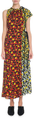 Proenza Schouler Sleeveless Mixed Poppy Wildflower-Print Asymmetric Long Dress